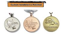 "1 1/2"" Custom Die Struck Shiny with Sandblast/Textured Backgound Medals"