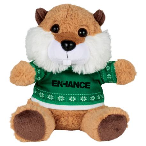 "6"" Ugly Sweater Plush Beaver, SM-2181, 1 Colour Imprint"