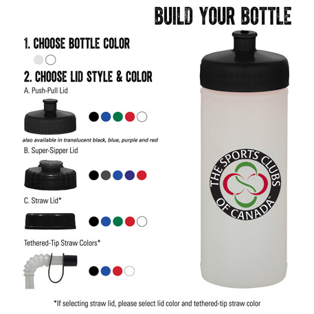 16-oz. Sports Bottle - Natural/White, HL-16NW - 1 Colour Imprint