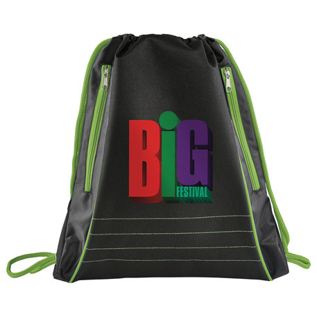Neon Deluxe Drawstring Bag, SM-7051, 1 Colour Imprint