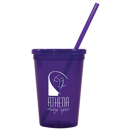 Jewel 16oz Tumbler w/ Lid & Straw, HL-JT16, 1 Colour Imprint