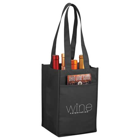 4 Pack Non-Woven Wine Tote, SM-7164, 1 Colour Imprint