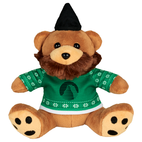 """6"""" Ugly Sweater Hipster Plush Bear, SM-2185, 1 Colour Imprint"""