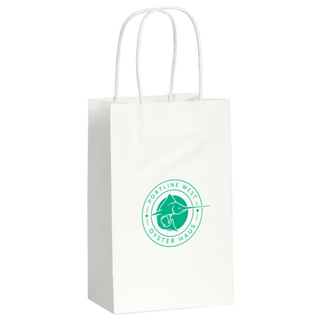 Kraft Paper Mini Gift Bag White, SM-5610, 1 Colour Imprint