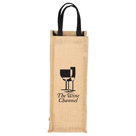 Jute Single Bottle Wine Tote, SM-7121, 1 Colour Imprint