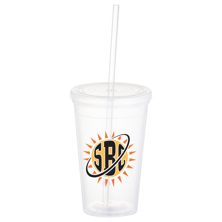Iceberg 16oz Double-Wall Tumbler w/Straw, SM-6635, 1 Colour Imprint