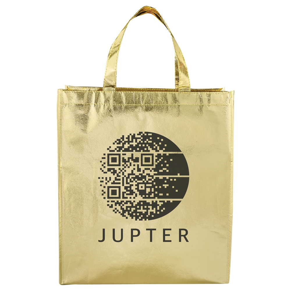 Metallic Laminated Shopper Tote, SM-7060, 1 Colour Imprint