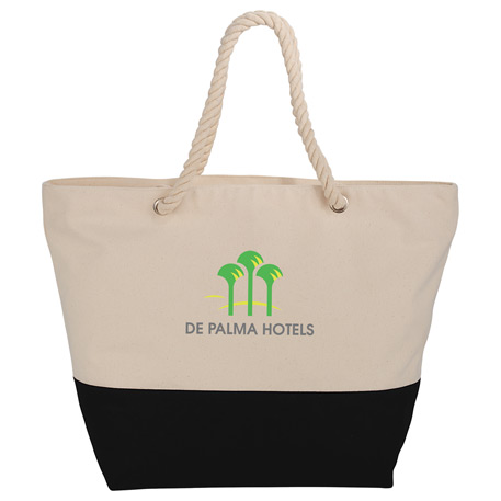 Zippered 12oz Cotton Canvas Rope Tote, SM-7066, 1 Colour Imprint