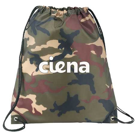Camo Oriole Drawstring Bag, SM-7148, 1 Colour Imprint