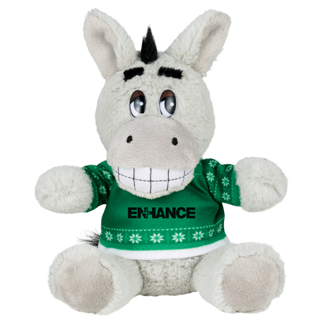 "6"" Ugly Sweater Plush Donkey, SM-2183, 1 Colour Imprint"