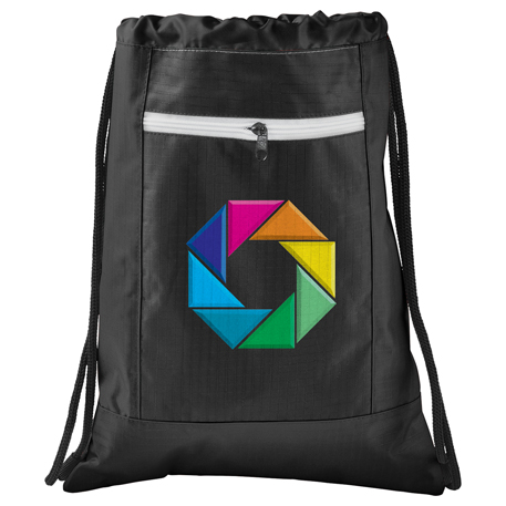 Zippered Ripstop Drawstring Sportspack, SM-7047 - 1 Colour Imprint