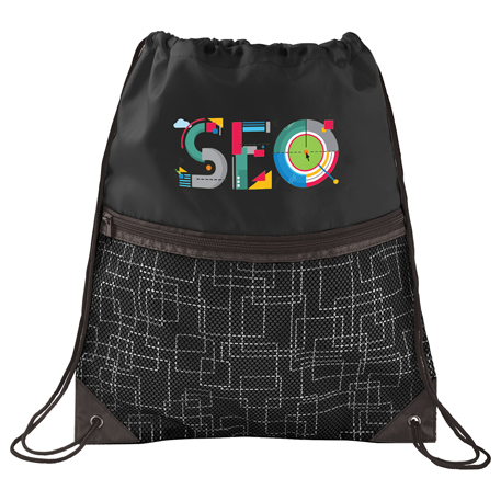 Tech Print Mesh Drawstring Bag, SM-7057, 1 Colour Imprint