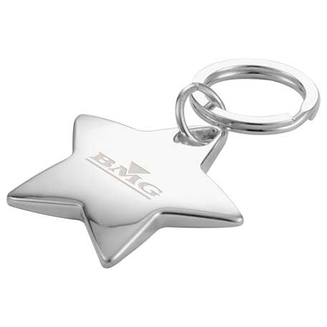 Star-Shaped Key Ring, SM-2380, Laser Engraved