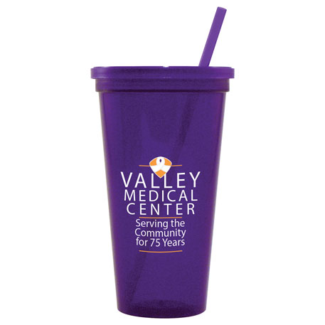 24-oz. Jewel Tumbler w/ Lid & Straw, HL-JT24 - 1 Colour Imprint