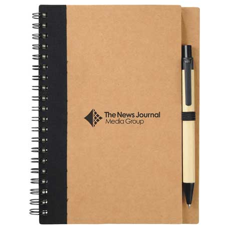 The Eco Spiral Notebook with Pen, SM-3468 - 1 Colour Imprint