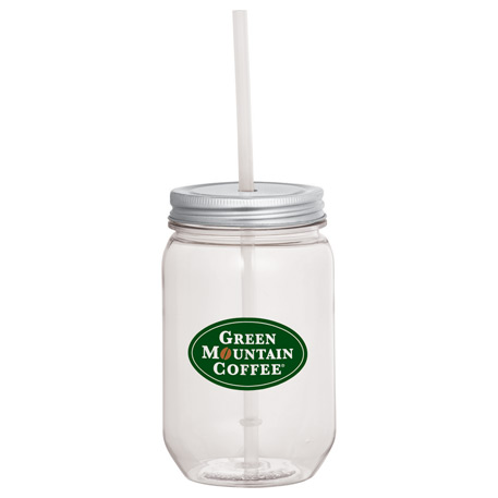 Mason Jar 22-oz. with Silver Tin Lid, SM-6922 - 1 Colour Imprint