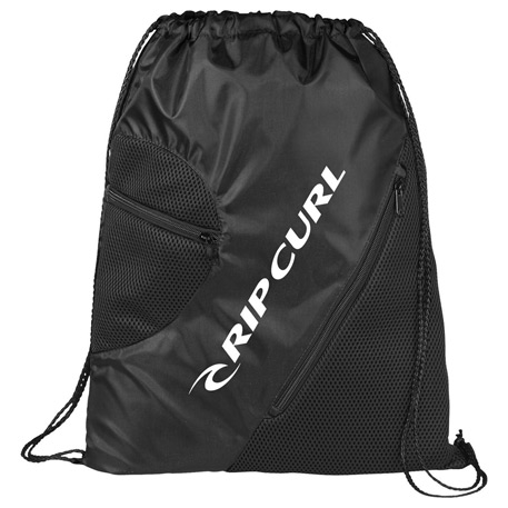 Zippered Mesh Drawstring Sportspack, SM-7142, 1 Colour Imprint