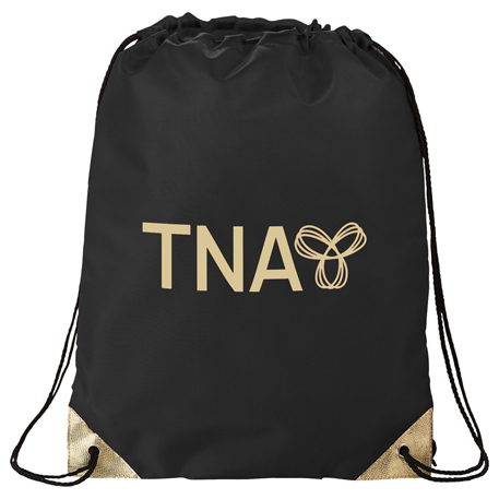 Metallic Accent Drawstring Bag, SM-7130, 1 Colour Imprint