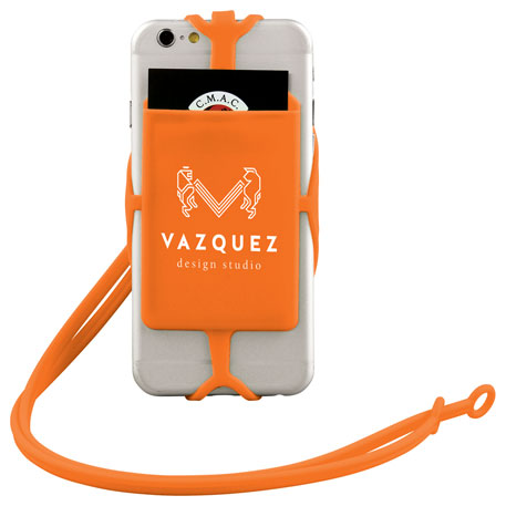 Silicone RFID Card Holder with Lanyard, SM-2565, 1 Colour Imprint
