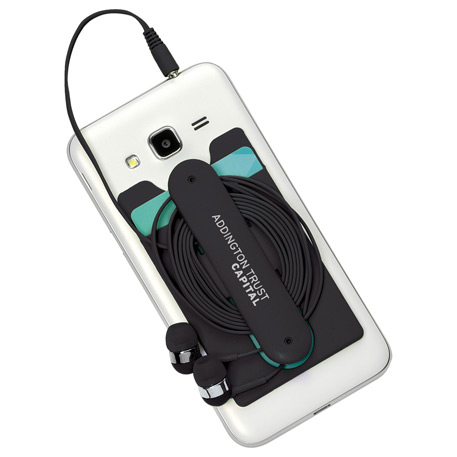 Silicone Card Wallet and Wired Earbuds, SM-2577, 1 Colour Imprint