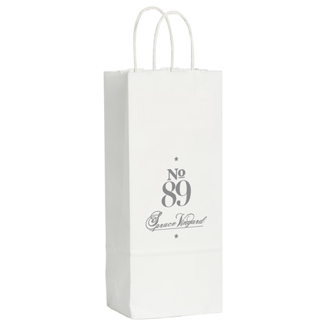Kraft Paper Wine Bag White, SM-5616, 1 Colour Imprint