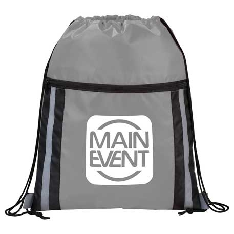 Deluxe Reflective Drawstring Bag, SM-7238, 1 Colour Imprint
