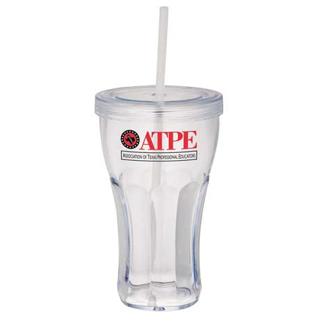 Fountain Soda 16-oz. Tumbler with Straw, SM-6628 - 1 Colour Imprint