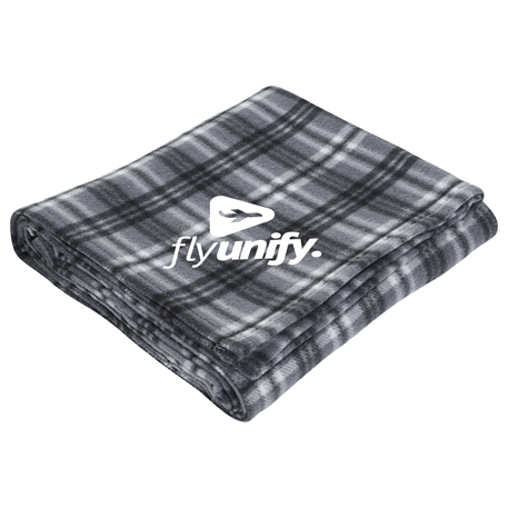 Plaid Fleece Blanket, SM-8710, 1 Colour Imprint