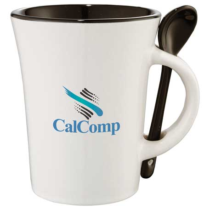 Dolce 10-oz. Ceramic Mug with Spoon, SM-6300 - 1 Colour Imprint