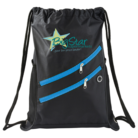 Two Zipper Deluxe Drawstring Sportspack, SM-7048 - 1 Colour Imprint