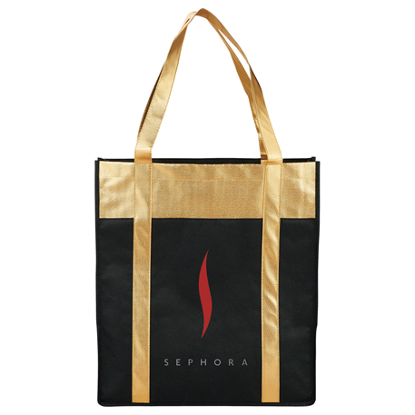 Metallic Non-Woven Shopper Tote, SM-7165, 1 Colour Imprint
