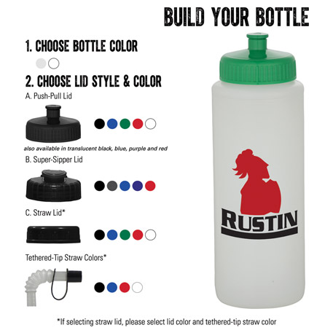 32-oz. Sports Bottle - Natural/White, HL-32NW - 1 Colour Imprint