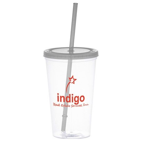 Glacier 20-oz. Tumbler with Straw, SM-6625 - 1 Colour Imprint