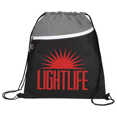 Slant Front Pocket Drawstring Bag, SM-7184, 1 Colour Imprint