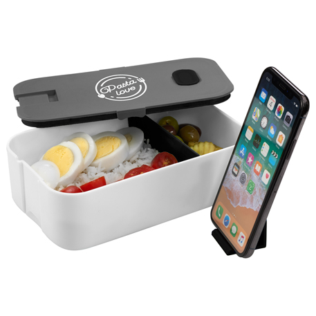 2 Compartment Bento Box with Phone Stand, SM-2205, 1 Colour Imprint