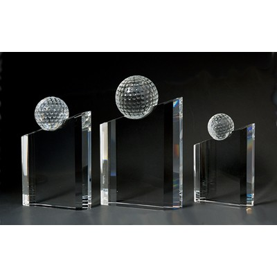 "6 5/8"" Golf Optical Crystal Award with Angled Tower"