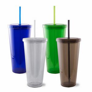 efb07306676 Double Wall Acrylic Tumbler w/Straw - 334005 - IdeaStage Promotional  Products
