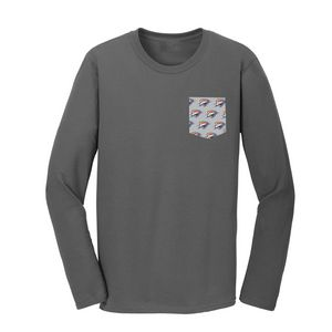 0bce5d1f Ladies Long Sleeve Everyday Tee with Customizable Pocket - PT200L -  IdeaStage Promotional Products