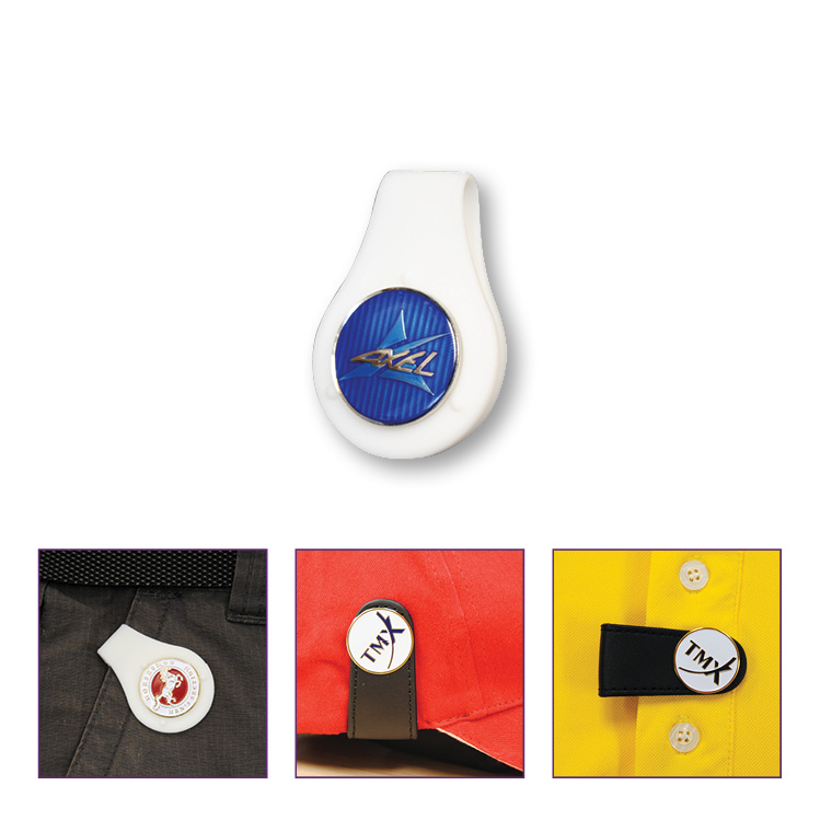 Clothing Clip with Enamelled Ball Marker - Die Struck Imprint