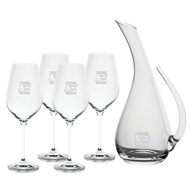 Monaco 1.5L Wine Carafe with four Wine Glasses - Deep Etched Imprint