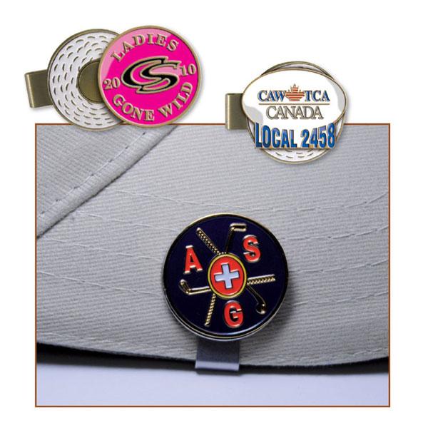 Golf Hat Clip / Enamel Ball Marker - Die Struck Imprint