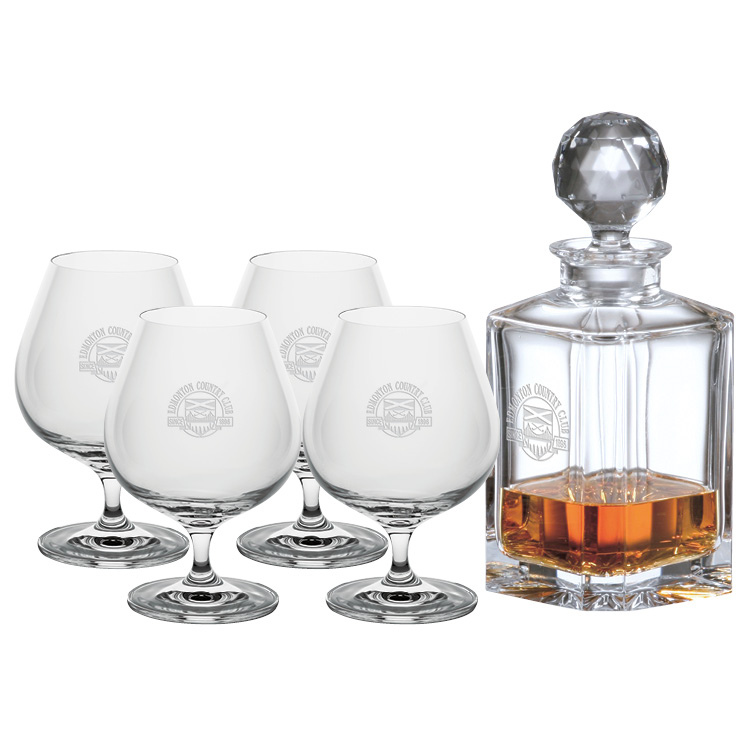 Crystal Decanter 0.8L & four Brandy Glasses - Deep Etched Imprint