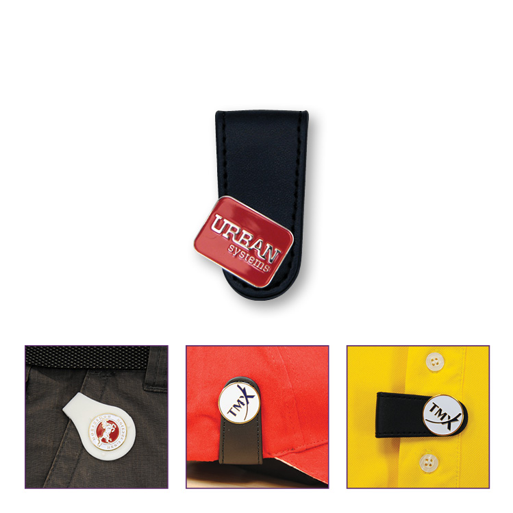 Leather Look Pocket Clip with Enamelled Ball Marker - Die Struck Imprint