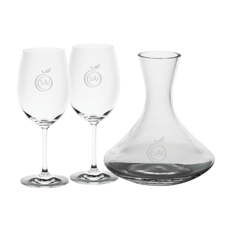 Saloma 1.5L Wine Carafe with two Wine Glasses - Deep Etched Imprint
