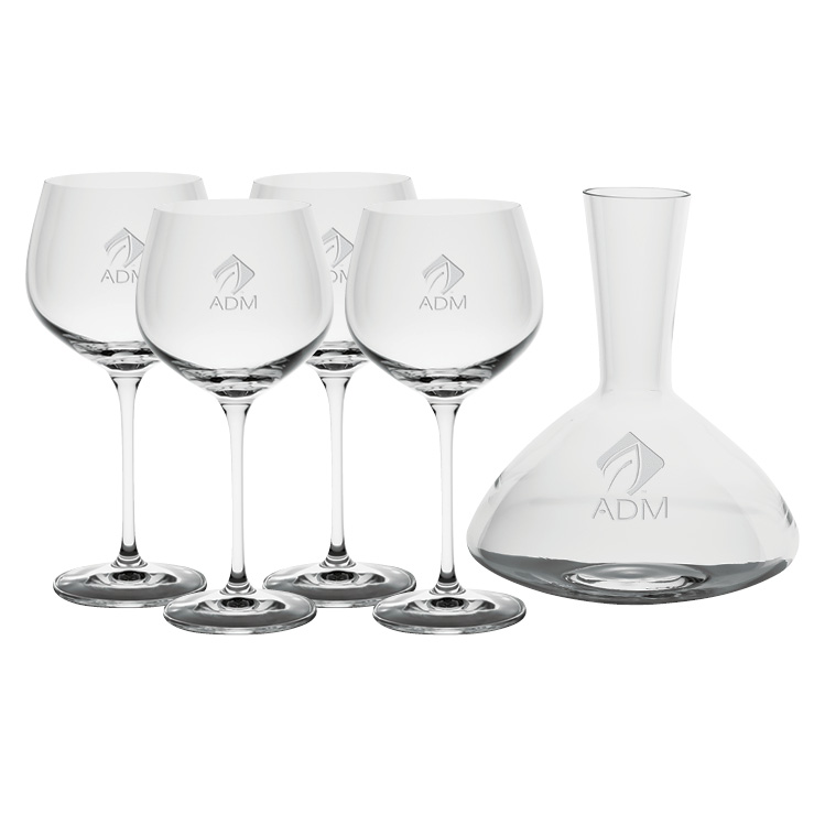 Renaissance 1.5L Wine Carafe with four Wine Glasses - Deep Etched Imprint