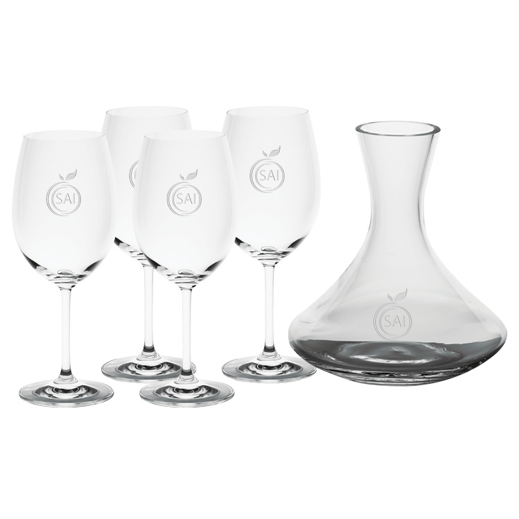 Saloma 1.5L Wine Carafe with four Wine Glasses - Deep Etched Imprint
