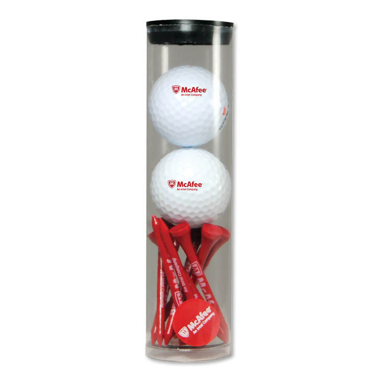 Tube Golf Ball Tee Pack 10 Tee/2 Marker/1 Divot / 2 Golf Ball - 1 Colour Imprint