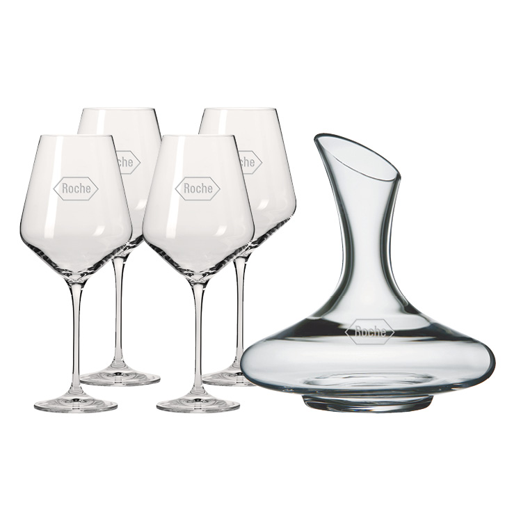 Vivaldi 1.5L Wine Carafe with four Wine Glasses - Deep Etched Imprint
