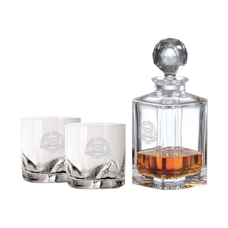 Crystal Decanter 0.8L & two 10 oz. DOF glasses - Deep Etched Imprint