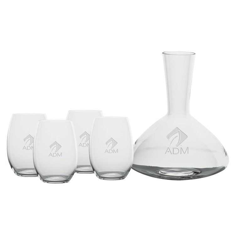 Renaissance 1.5L Wine Carafe with Four Stemless Glasses - Deep Etched Imprint
